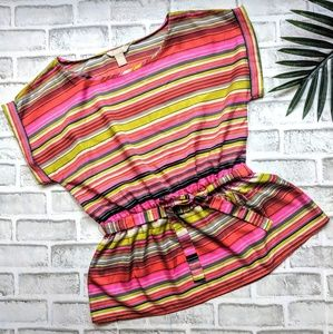 Banana Republic belted striped blouse